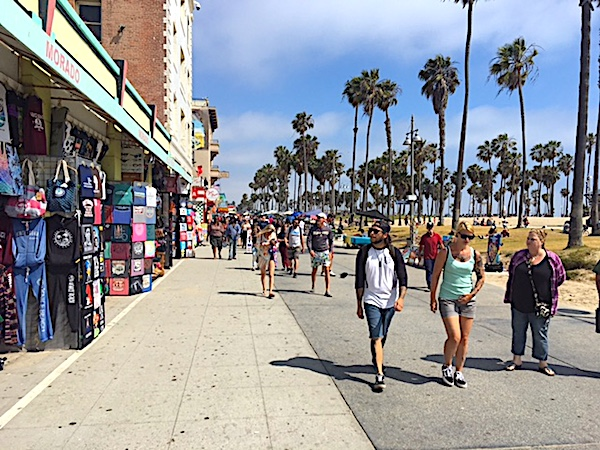 Strolling Souvenir Shops on the Boardwalk in Venice Beach